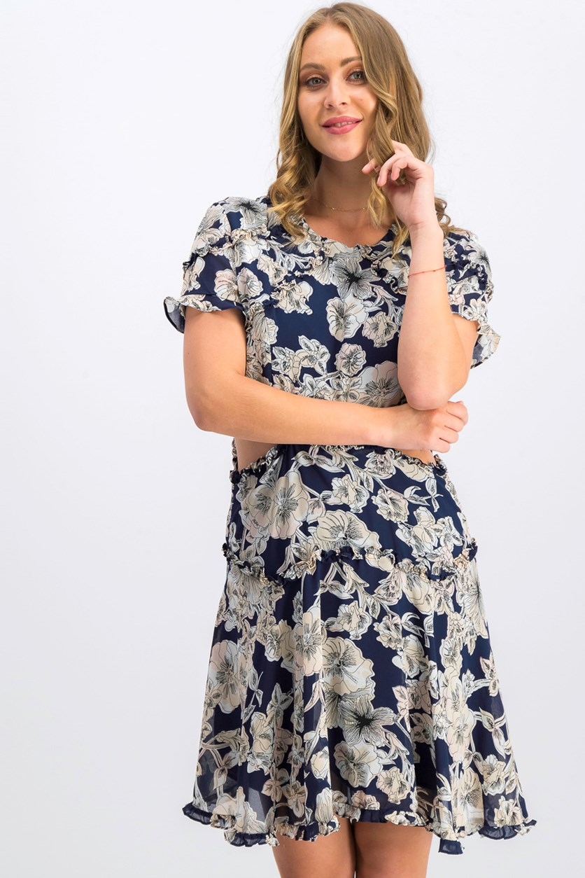 Women Floral Ruffled Fit & Flare Dress, Navy Combo