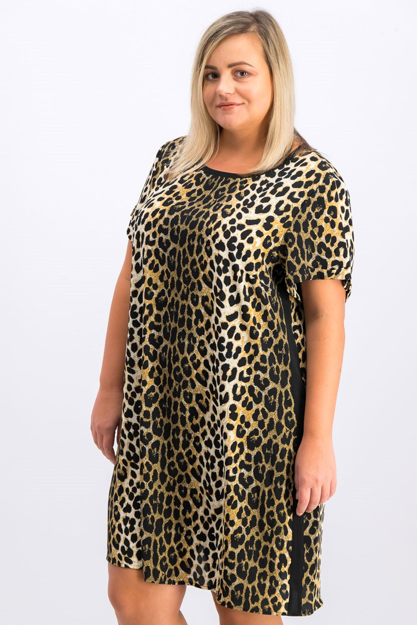 Women's Leopard Print Shirt Dress, Black Combo