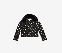 New York Girls' Metallic Dot Moto Jacket, Black/Gold