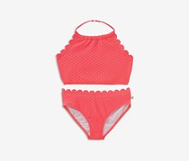 Kate Spade New York Girls Textured Scalloped 2-Pcs. Swimsuit Set, Coral