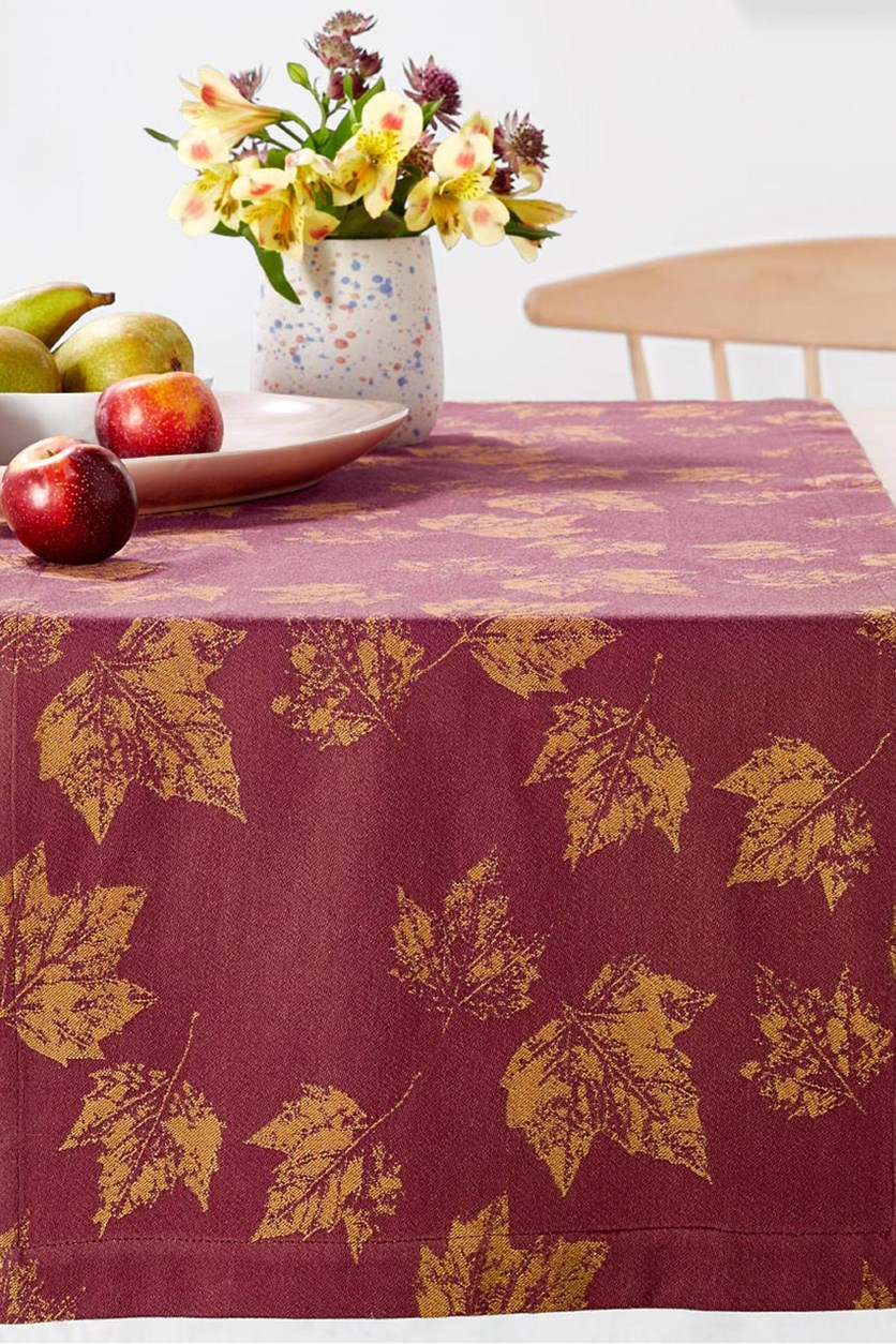 Jacquard Table Runner, Maroon