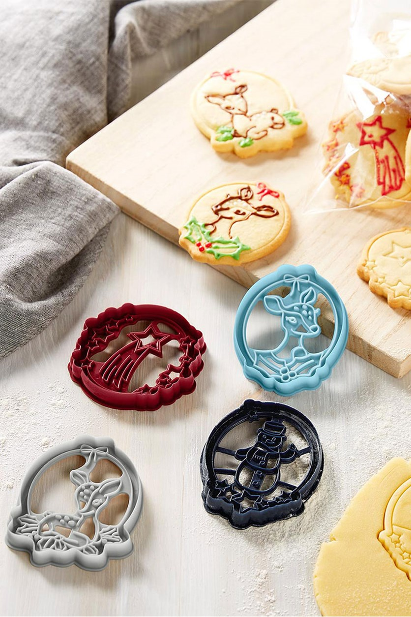 Stamping Biscuit Cutter Set, Red/Blue/Gray
