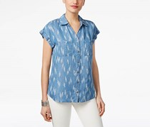 Style & Co Women's Ikat-Print Denim Shirt, Blue