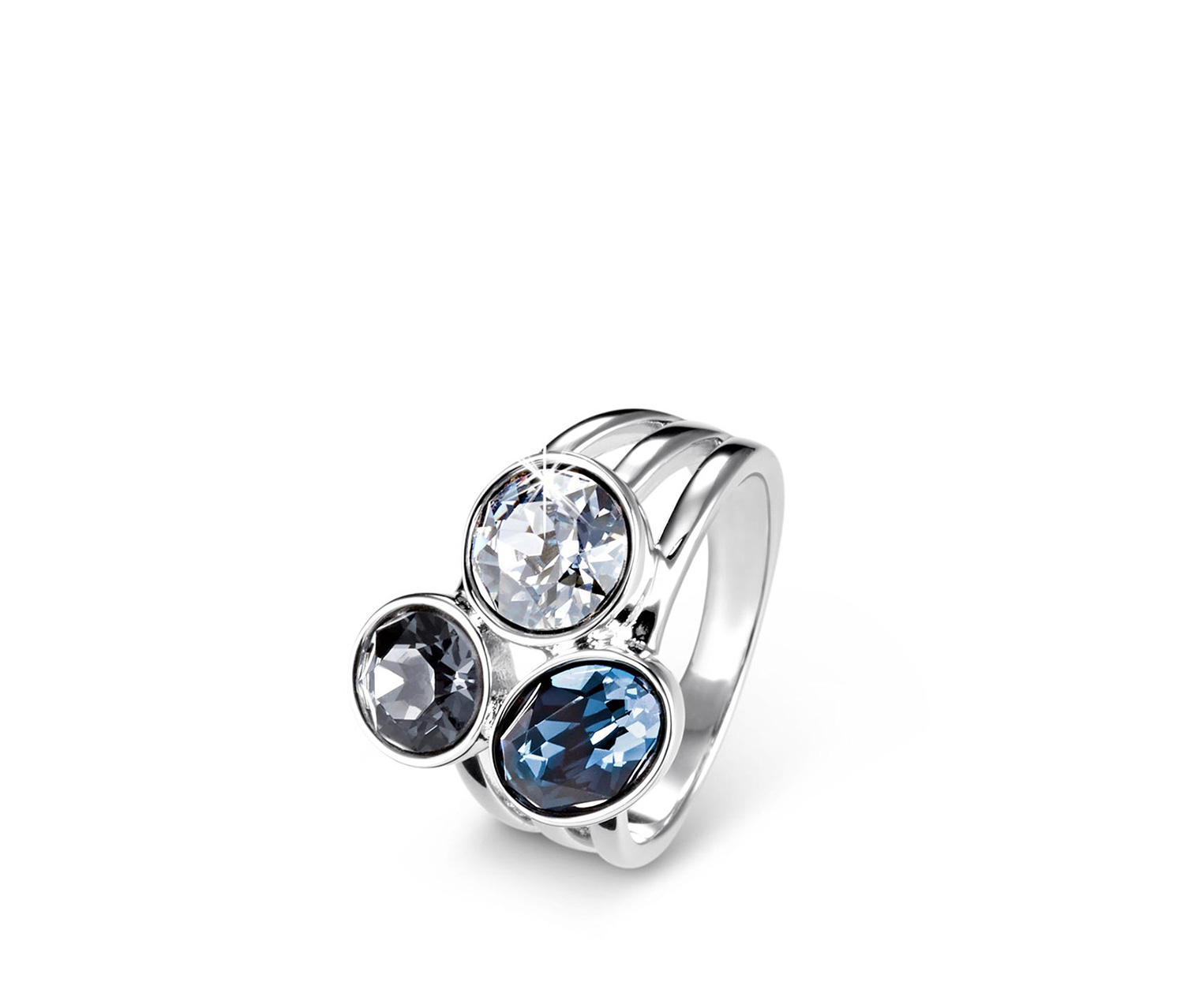 Women's Ring Decorated With Swarovski Crystals, Silver/Blue/Gray