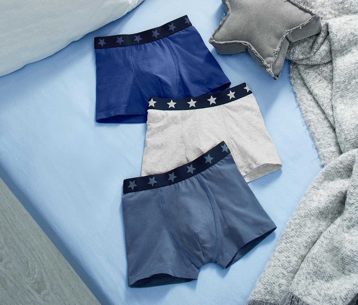 Boy's 3 Slipboxers, Grey/Navy/Blue