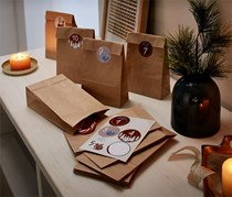 Advent Calendar Kit and Gift Pouches, Tan