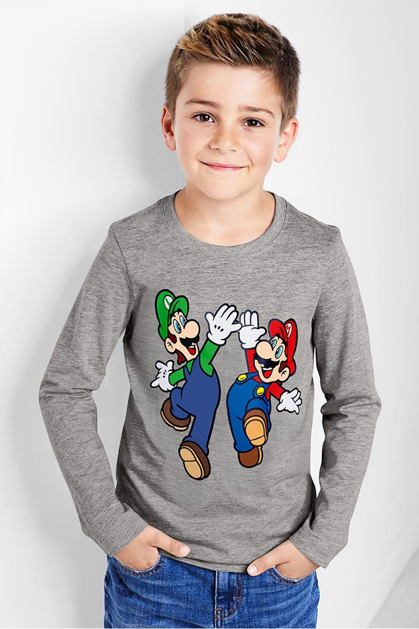 Kids Boy Super Mario Long Sleeved Top, Heather Grey
