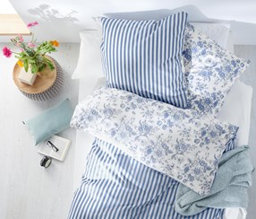Renforce Reversible Bed Linen, Blue/White