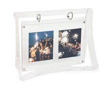 Isaac Jacobs Clear Acrylic Magnetic Swing Picture Frame, Silver