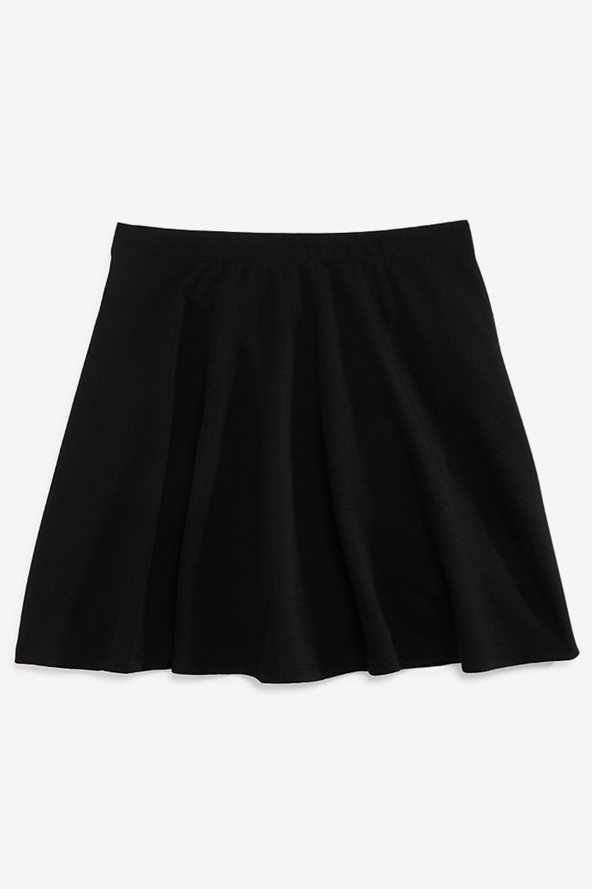 Kids Girls Textured Flared Skirt, Black