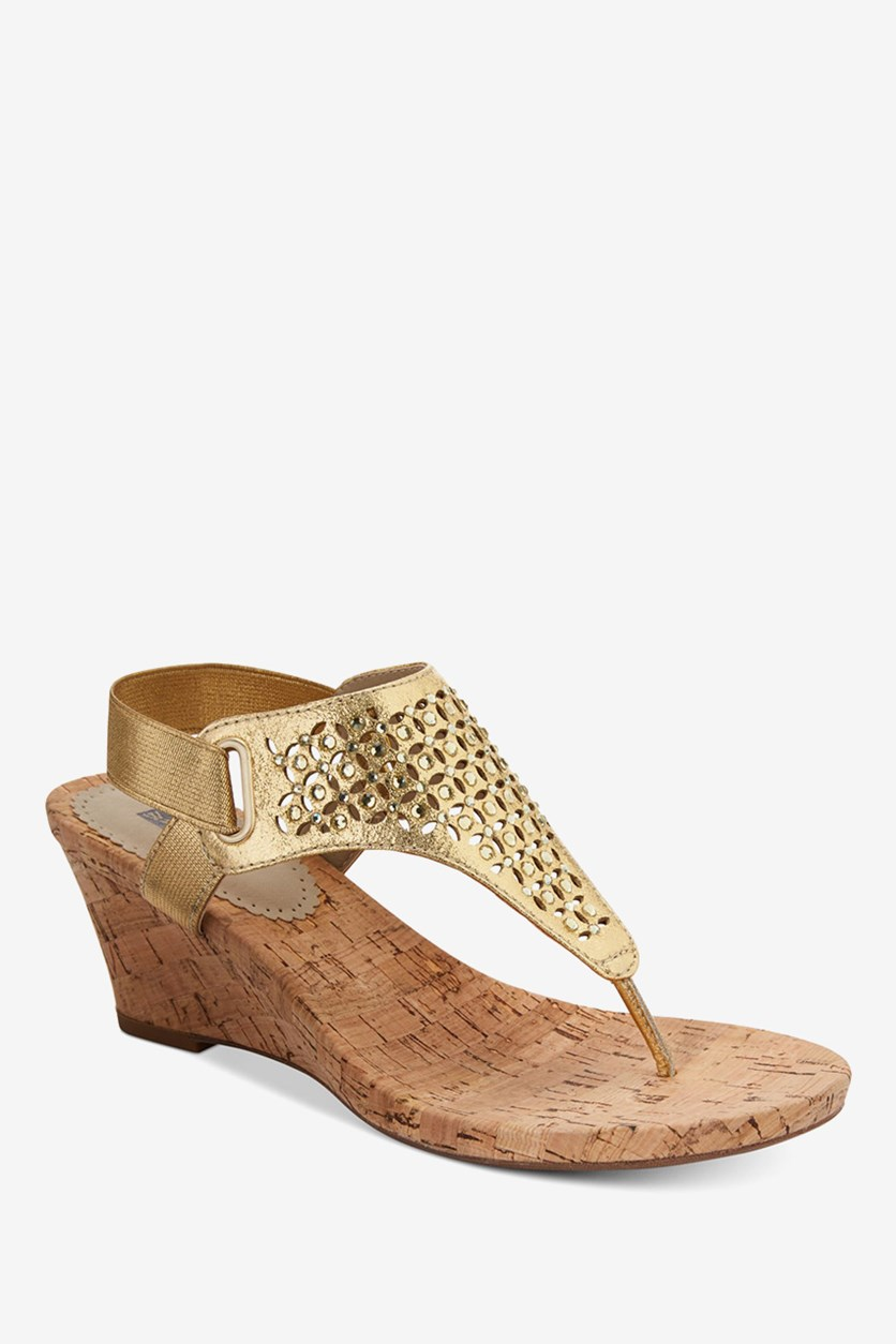 Arnette Embellished Wedge Sandals, Gold