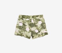 Flowers by Zoe Girls Rose-Print Camo Shorts, Olive