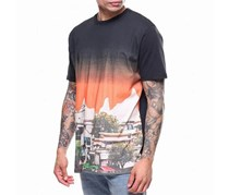Lrg Men's Usa 3xl Graphic Print Crewneck Tee T-shirt, Black/Orange