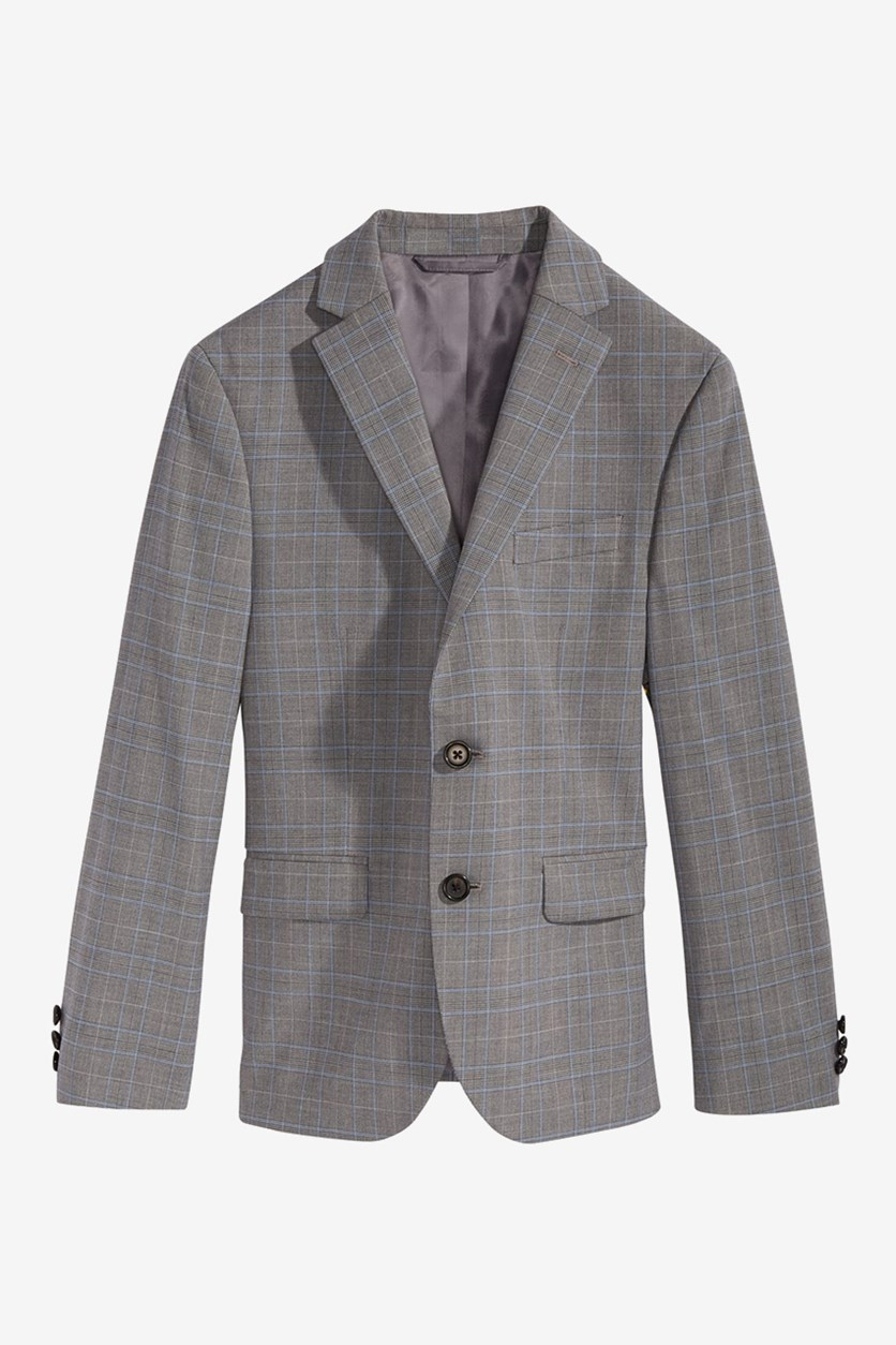 Boys Plaid Suit Jacket, Grey/Blue