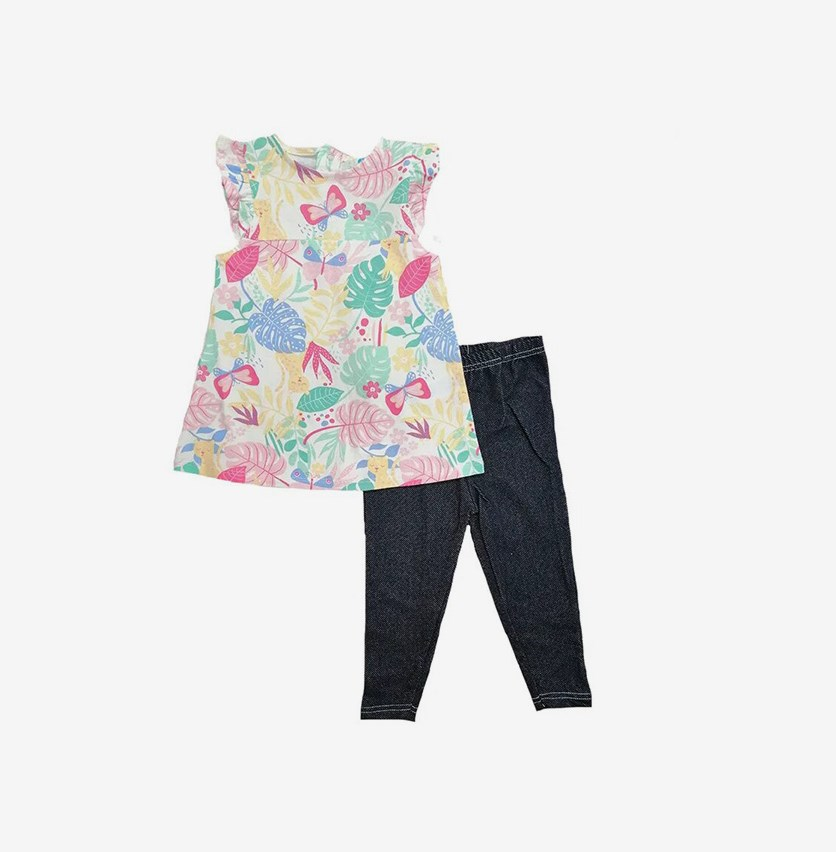 Toddlers Girls Floral Print Blouse and Legging Set, Pink/Yellow/Navy Combo