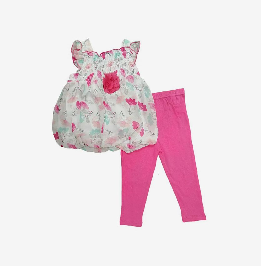 Toddlers Girls 2pc Floral Print Leggings Set, Pink