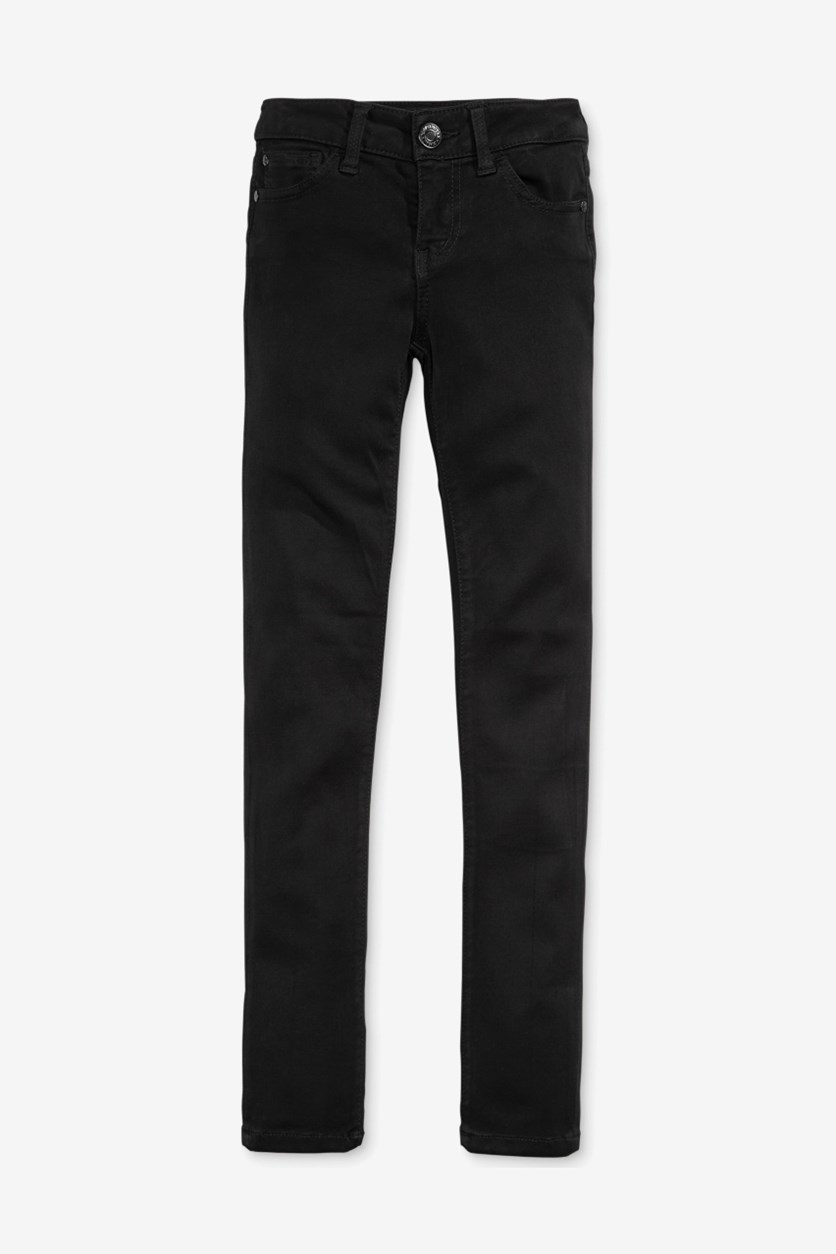 Girls Super-Stretch Skinny Jeans, Black Rinse