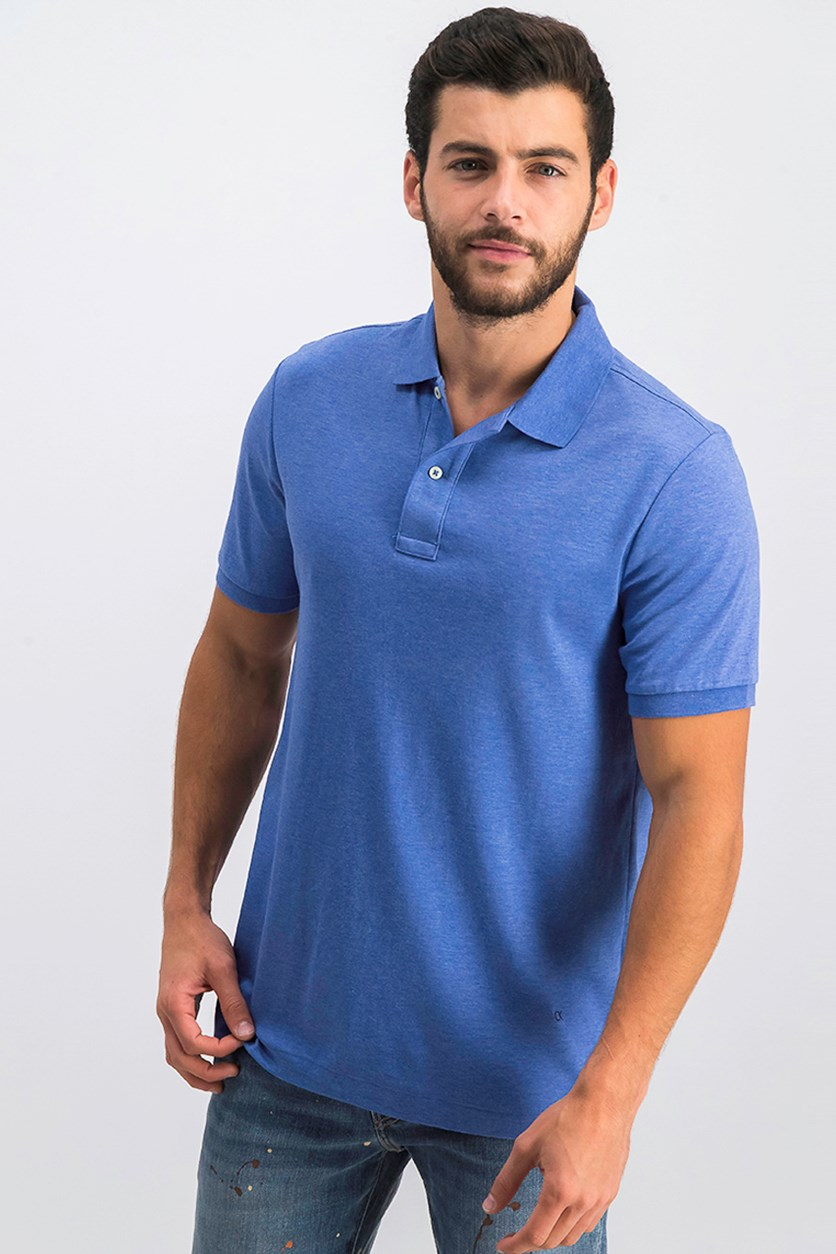 Men's Lifestyle Soft Liquid Cotton Polo Shirts, Blue