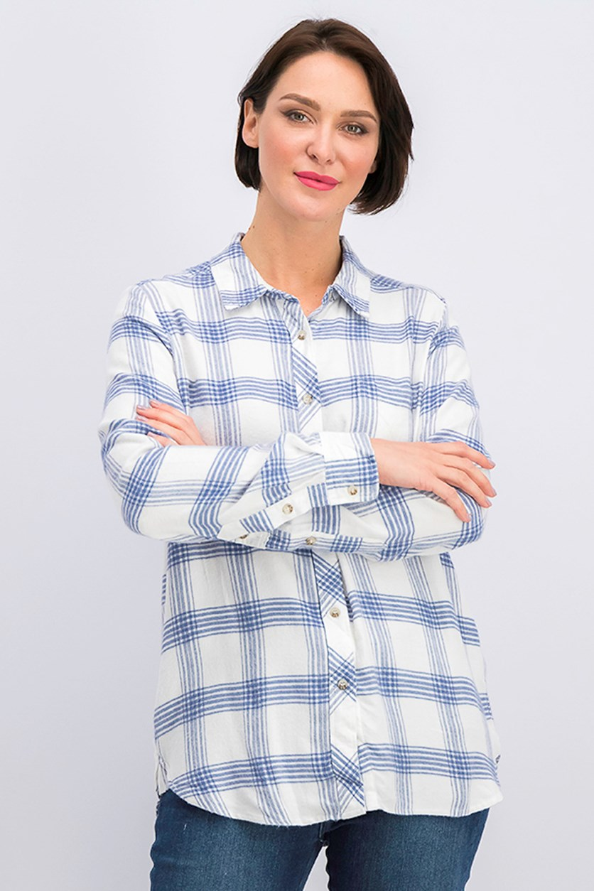 Women's Checkered Blouse, White/Blue