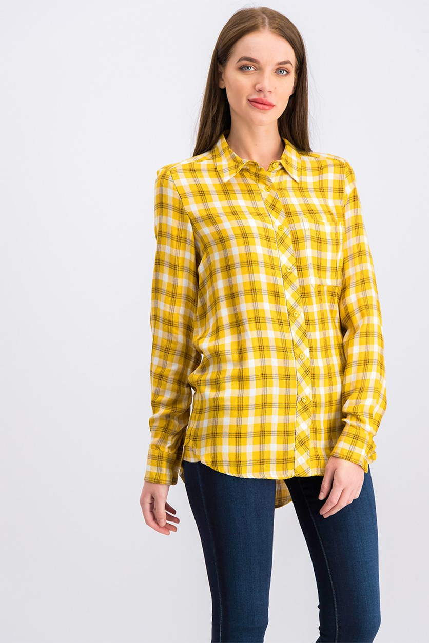 Women's High Low Hem Plaid Top, Yellow
