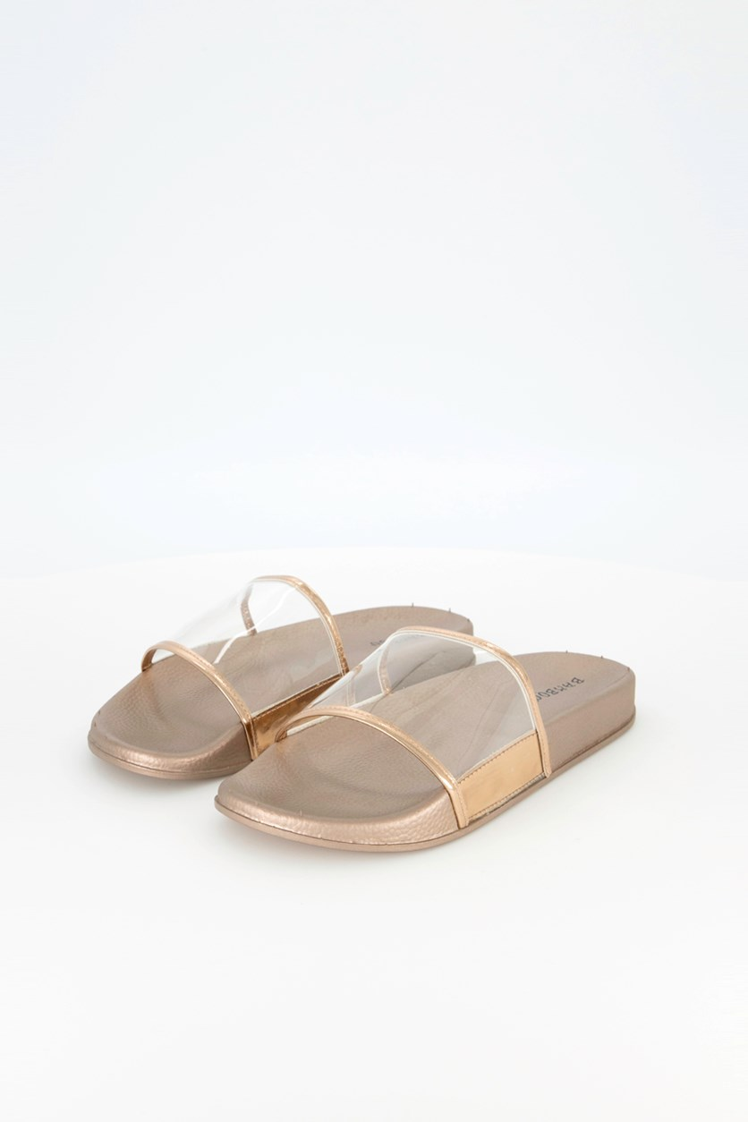 Women's Slip on Sandals, Bronze