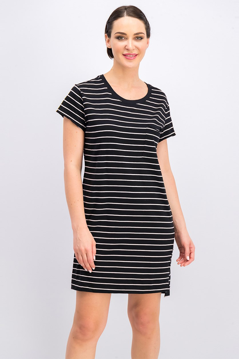Santuary Women Short Sleeve Striped Shift Dress, Black Combo
