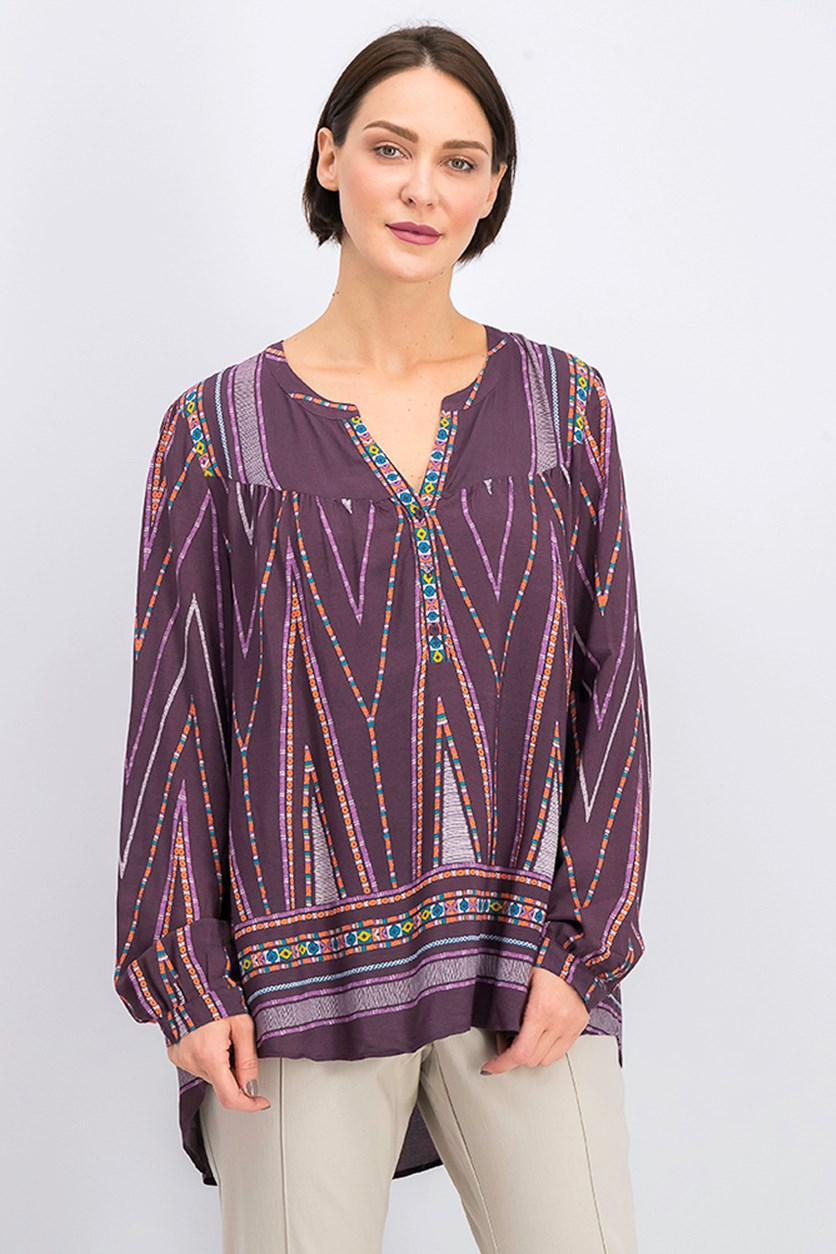 Women's Split Neck Top, Plum