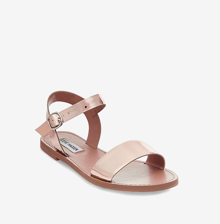 Donddi Flat Sandals, Rose Gold