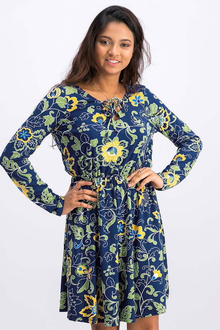 Women's Allover Print Dress, Navy