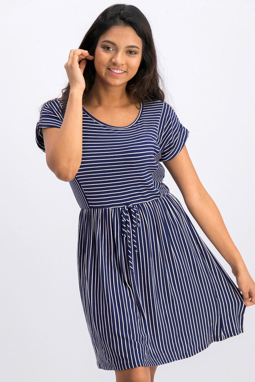 Women's Striped Dress, Navy/White
