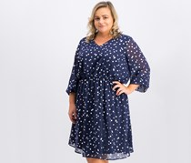Collective Concepts Women's Plus Size Polka Dots Dress, Navy