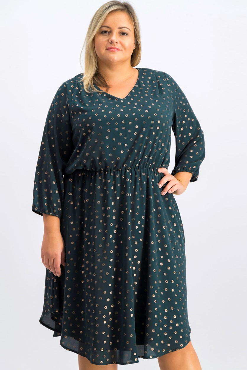 Women's Plus Size Allover Printed Dress, Green/Gold