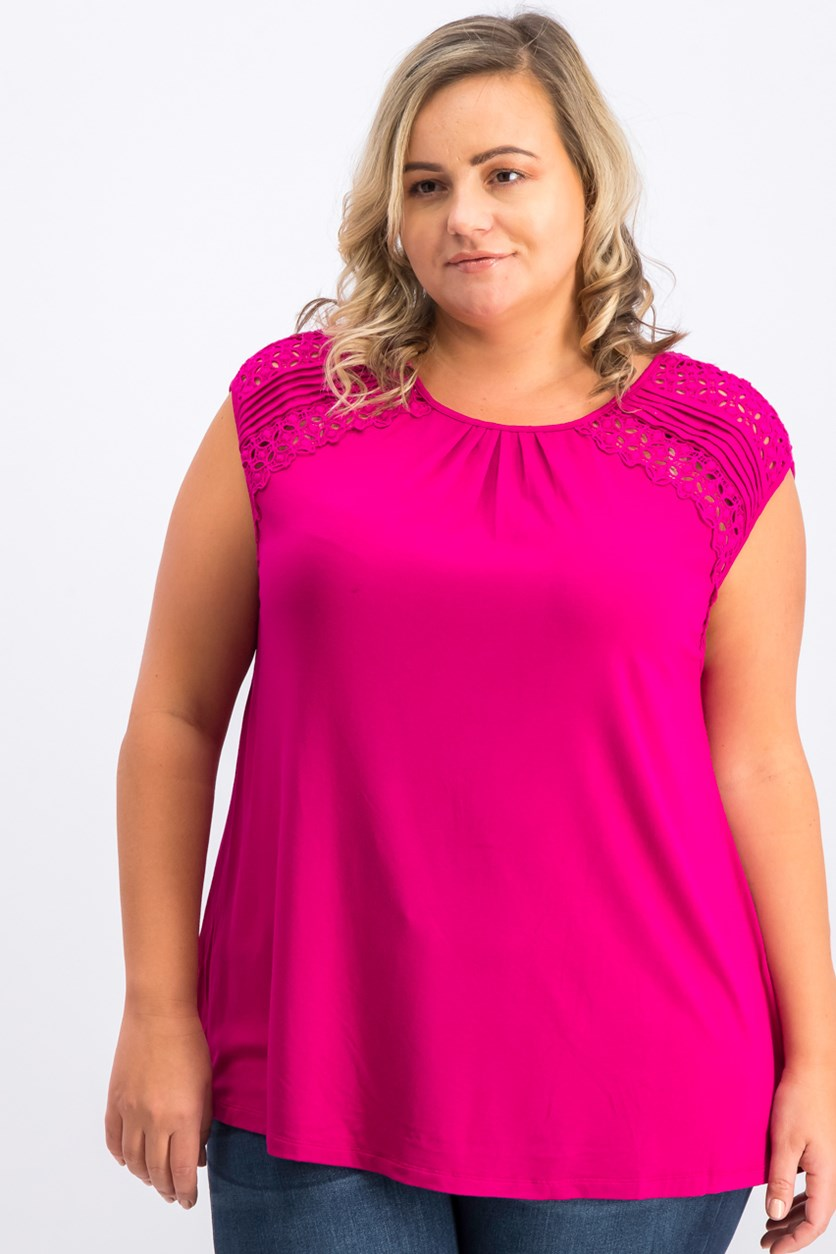 Women's Plus Size Embroidered Top, Fuchsia