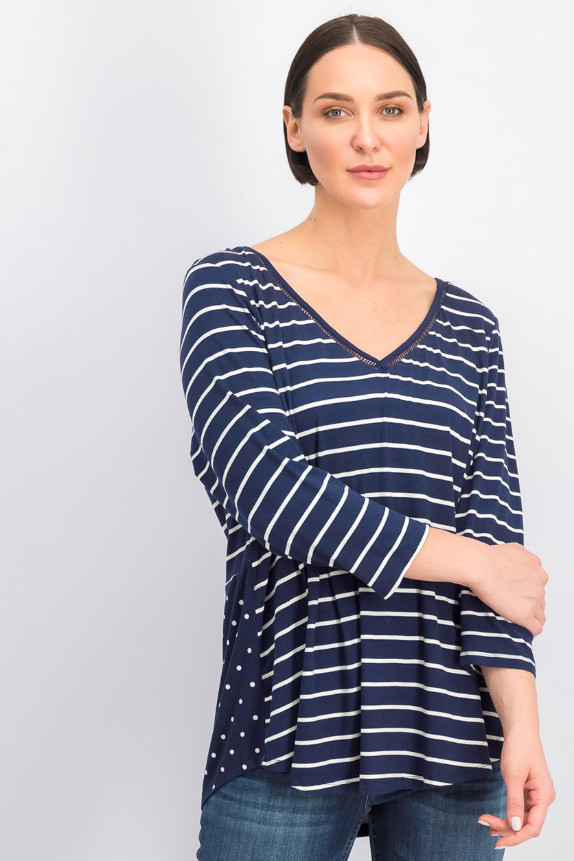 Women's Plus Size Striped V-Neck Shirt, Navy/White