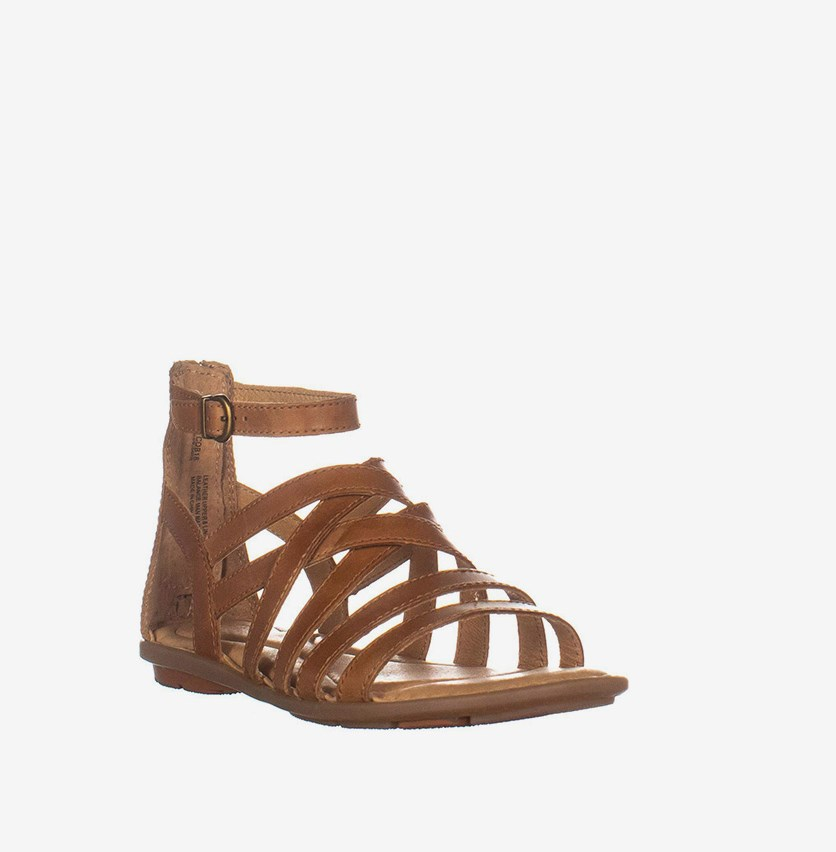 Womens Giverny Leather Open Toe Casual Strappy Sandals, Tan