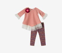 Rare Editions Toddlers Girls 2-Pc. Top Leggings Set, Pink/Maroon Combo