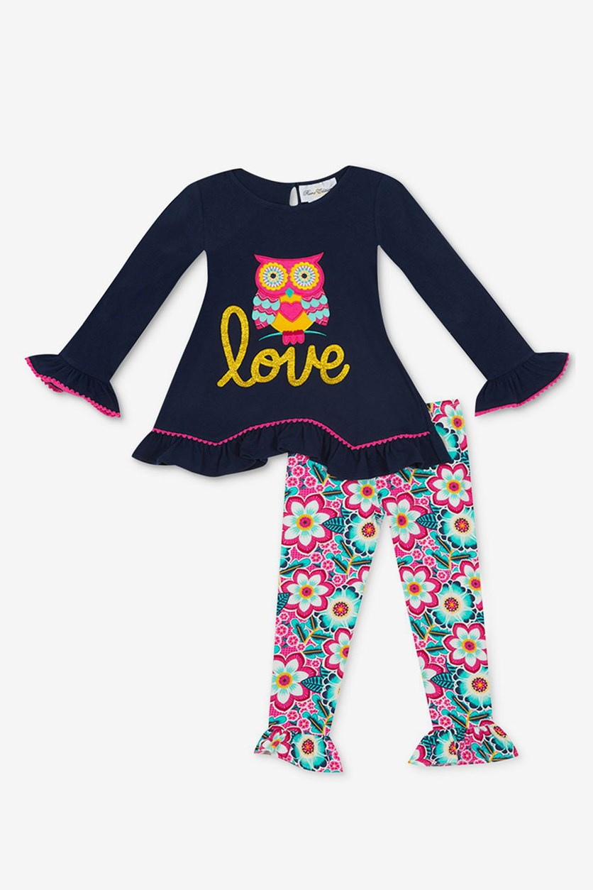 2-Piece Owl Top & Leggings Set, Navy Combo