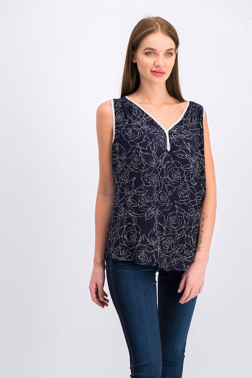 Women's Floral Pattern Sleeveless Top, Navy Blue