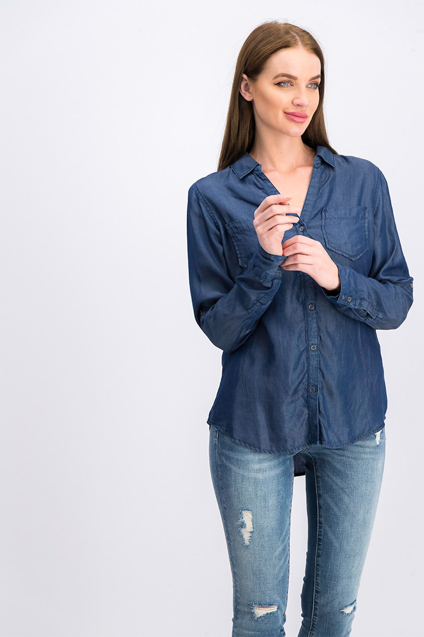 Women Long Sleeve Blouse, Chambray