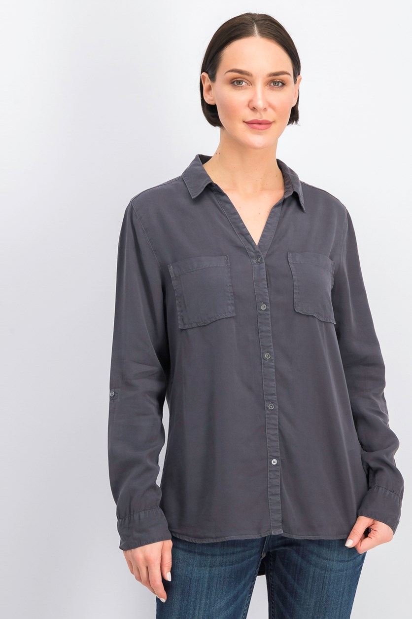 Women's Button Down Shirt, Charcoal