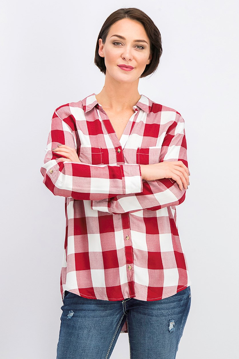 Women's Roll-Tab Sleeve Top, Red/White