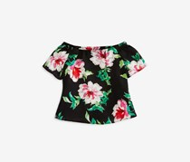 Aqua Girls' Floral Off-the-Shoulder Top, Black Combo
