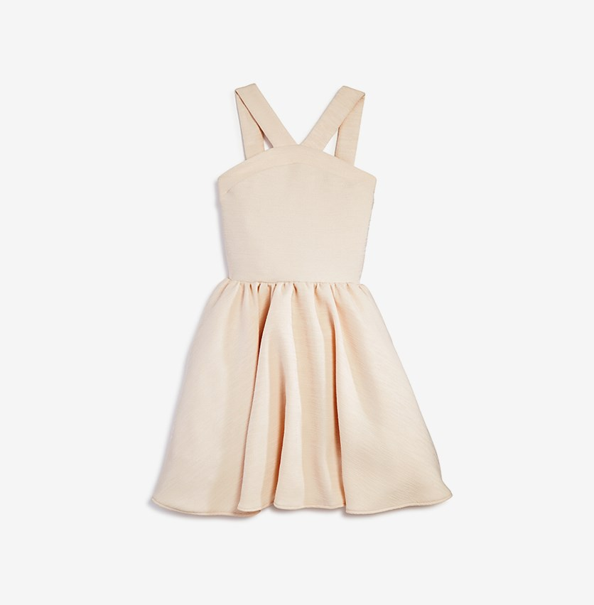 Girls' Textured V-Neck Dress, Beige