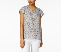 G.H. Bass & Co. Women's Hi Lo Flutter Sleeeve Blouse, Grey