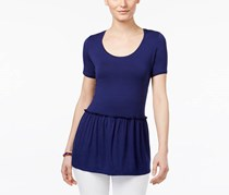 G.H. Bass & Co. Women's Peplum Basic T-Shirt, Navy