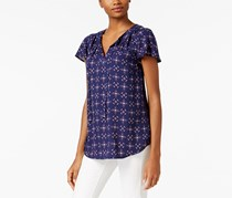G.h. Bass & Co Women's Geometric-Print Flutter-Sleeve Top, Navy