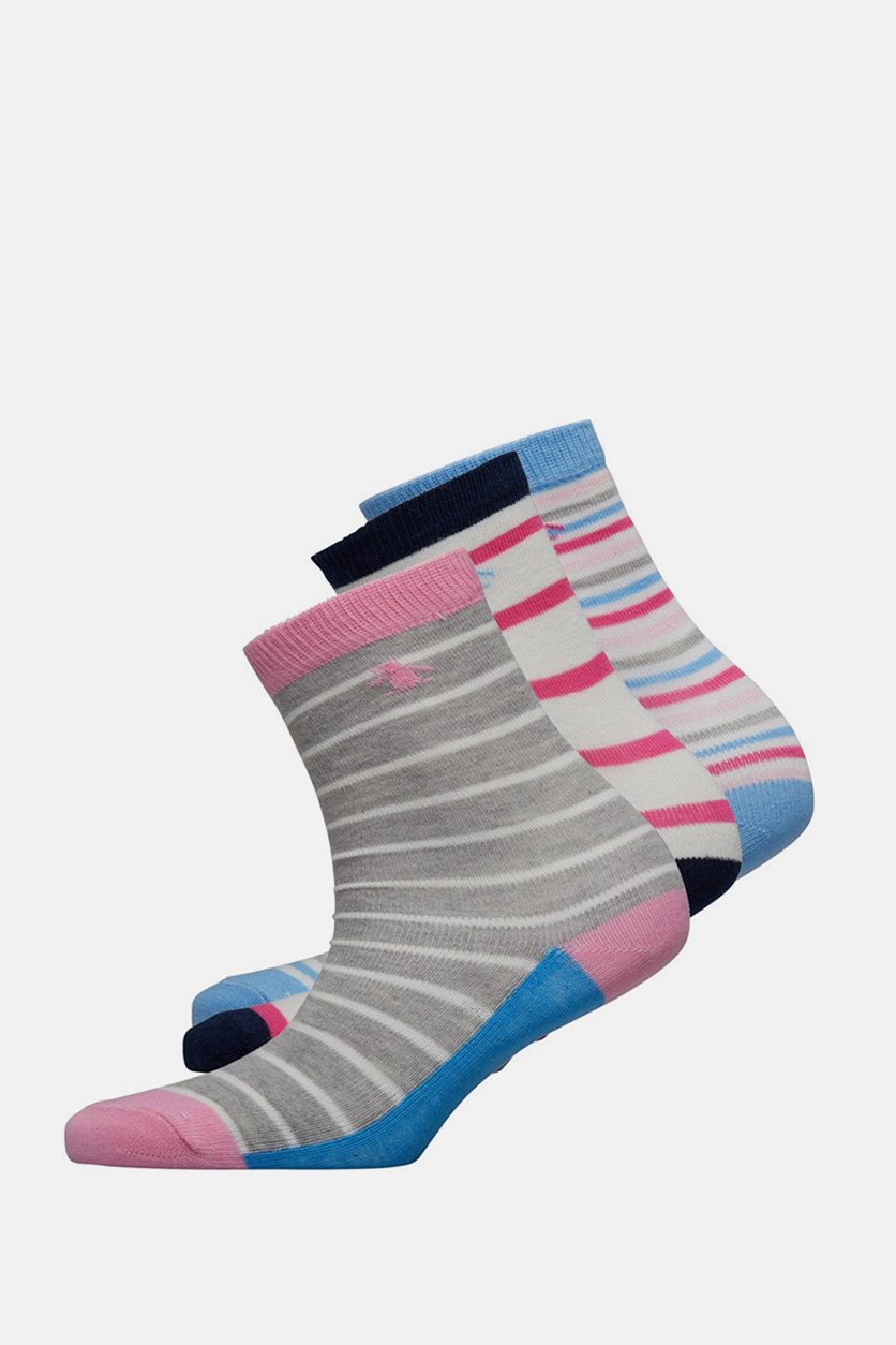 Girls 3 Pairs Socks, Stripe Pink Mix