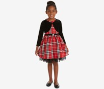 Rare Editions Toddler Girls 2-Pc. Velvet Shrug & Plaid Dress Set, Red/Black