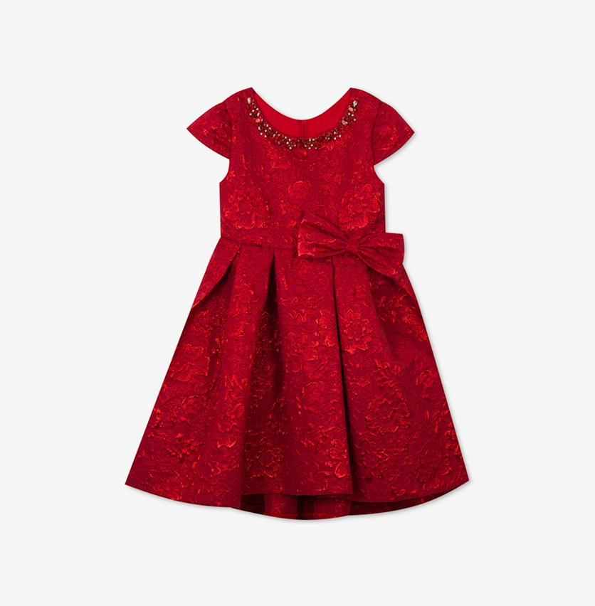 Toddler Girls Metallic Brocade Dress, Red