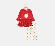 Rare Editions 2-Pc. Holiday Tutu Tunic and Leggings Set, Red/White